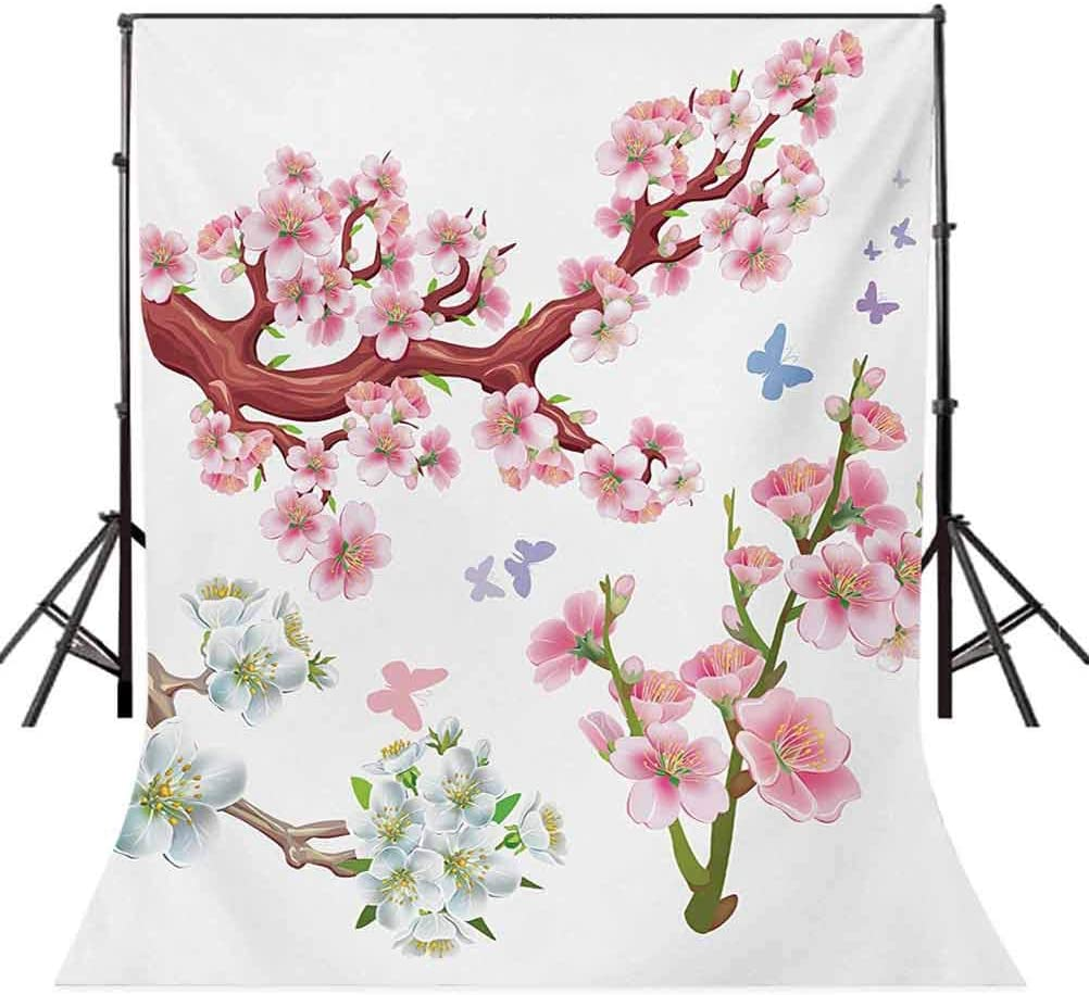 Floral 6.5x10 FT Backdrop Photographers,Collection Flowering Branches Colorful Spring Garden Theme Seasonal Art Print Background for Baby Birthday Party Wedding Vinyl Studio Props Photography