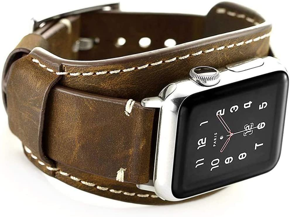 Hepsun Compatible with Apple Watch Bands 38mm 40mm Genuine Leather Strap Retro Crazy Horse Cuff Sport Wristbands for iWatch Band Series 6 5 4 3 2 1 SE Men Women Strap with Stainless Steel Metal Buckle(Coffee 38/40mm)