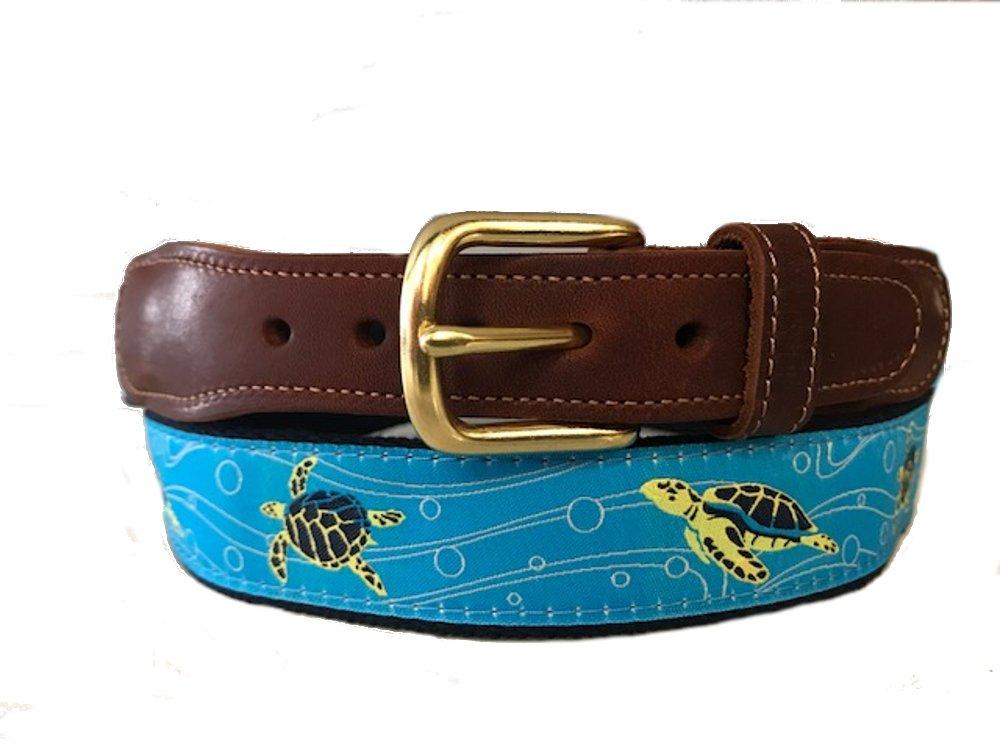 Men's Preston Leather Ribbon Ocean Blue Swimming Sea Turtles Belt (36)