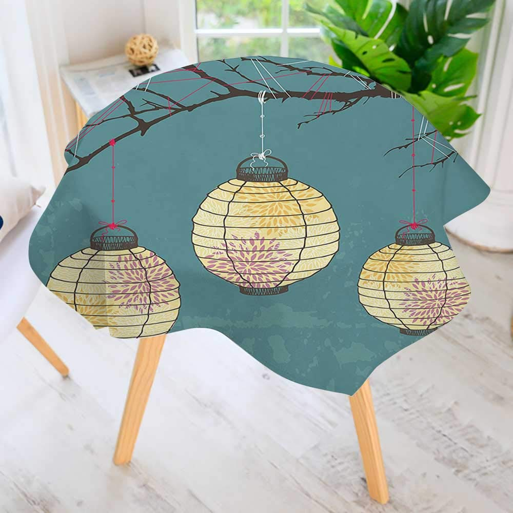 UHOO2018 Table Decoration Durable-Three Paper Lanterns Hanging on The Branches Lighting Fixture Source Lamp Boho Print for Home Kitchen Dining roomWaterproof Coffee Tablecloth 40'' Round