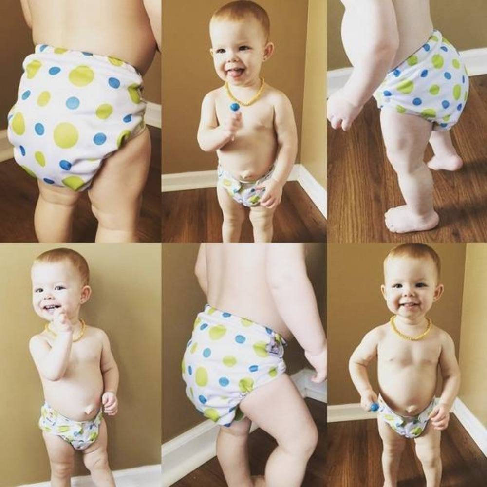 KaWaii Baby Good Night Heavy Wetter Pack of 8 Baby Cloth Diapers with 16 Stay-Dry Super Absorbent Microfiber Inserts Unisex Overnight Pocket Diaper One Size Adjustable Waterproof Newborn to Toddler by Kawaii Baby