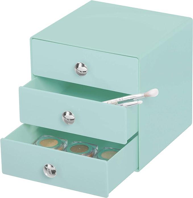 iDesign 3-Drawer Plastic Vanity Organizer, Compact Storage Organization Set for Dental Supplies, Hair Care, Bathroom, Office, Dorm, Desk, Countertop, Office, 6.5
