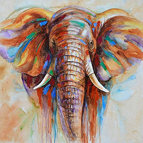 (50 50cm HD Printed Frameless Elephant Head Canvas Painting Wall Art Pictures Decor for Home Living Room Bedroom )
