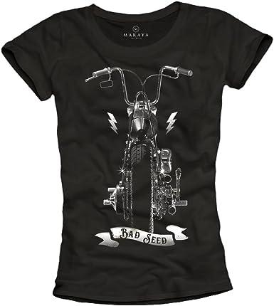 MAKAYA Camiseta Negra para Mujer con Moto - Bad Seed: Amazon.es: Ropa y accesorios
