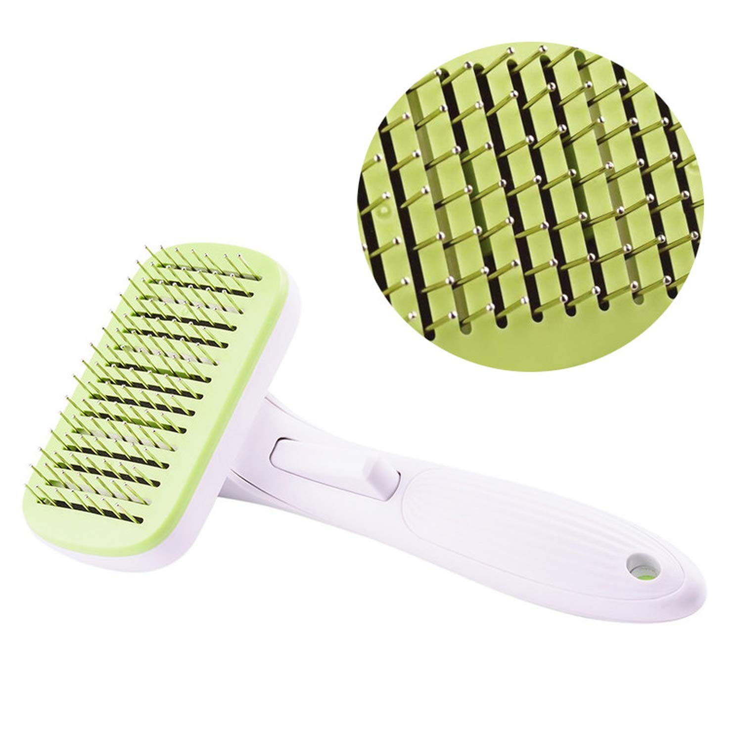 lucky air Pet Hair Remover ABS TPR Small Dog Cat Puppy Automatic Hair Grooming Tool Short Hair,Green,M