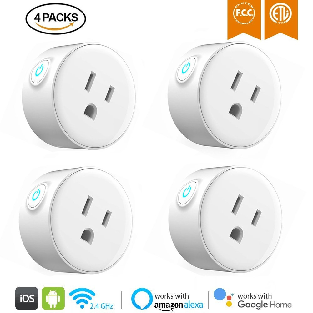 WiFi Smart Plug Mini Smart Outlet Socket Wireless Switch Works with Amazon Alexa Google Home, Remote Control Your Device from Anywhere, No Hub Required, Timing Function