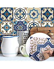 10 Pcs Blue Vintage Moroccan Self-Adhesive Square Peel and Stick Non-Slip Waterproof Removable PVC Bathroom Kitchen Home Decor Floor Wall Stair Tile Sticker