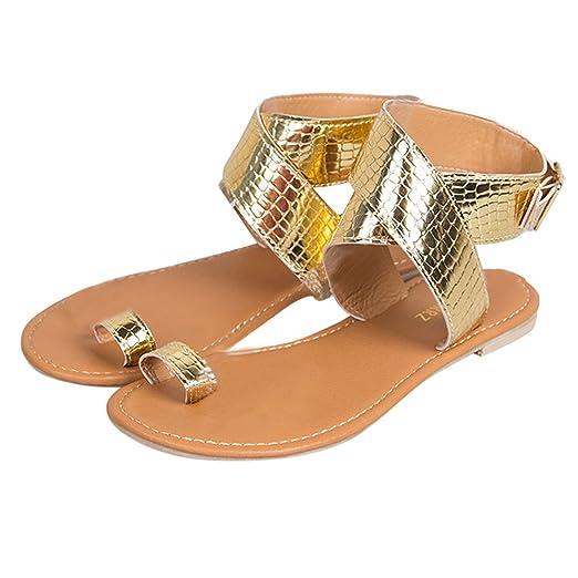 21298d873c7fd Amazon.com: ❤ Sunbona Women Flat Sandals Ladies Summer Ankle ...
