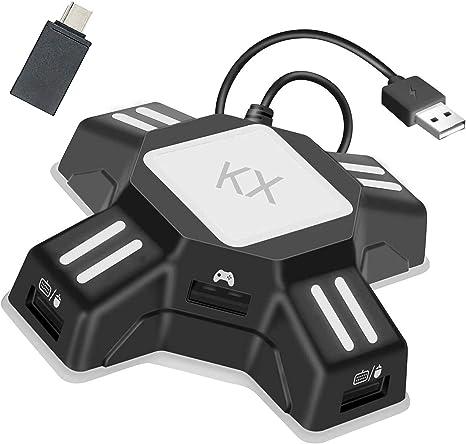Convertidor de Teclado y Ratón Adaptador de Controlador de Gamepad KX Gaming Teclado y Mouse USB Adaptador Compatible con Switch/PS4/PS3/Xbox One