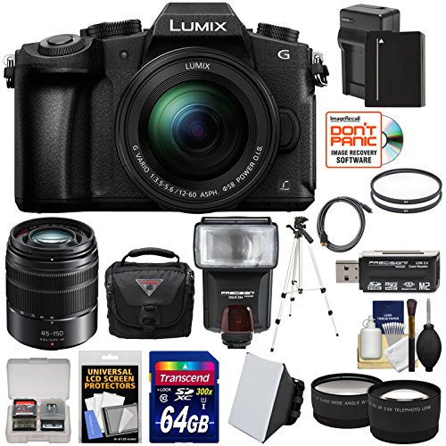 Panasonic Lumix DMC-G85 4K Wi-Fi Digital Camera & 12-60mm Lens with 45-150mm Lens + 64GB Card + Battery + Case + Tripod + Flash + Tele/Wide Lens Kit by Panasonic