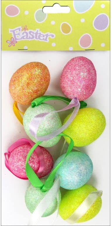 2 Toned Easter Egg Ornaments Glitter 12 Hanging Loop Decoration New Tree Wreath
