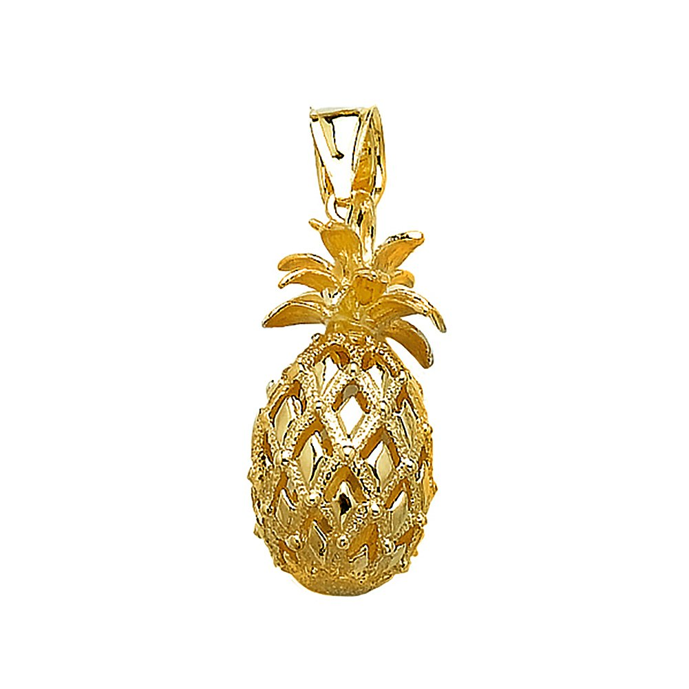 14k Yellow Gold Fruit Charm Pendant, 3D Pineapple, Cut-Out, High Polish, Textured by Million Charms