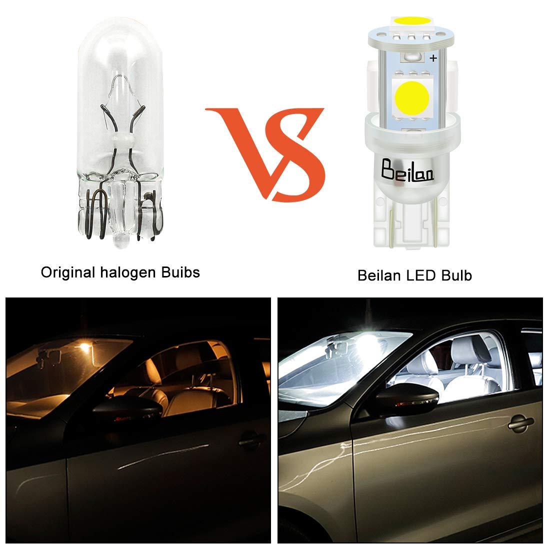 BeiLan 10PCS T10 LED Ampoules de Voiture Lampe W5W 194 168 501 2825 6000K 5050 Chipset Lampe de Remplacement /à Inversion pour Lumi/ère D/ôme Carte C/ôt/é Feux de Plaque