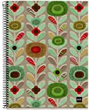 Miquelrius EcoFlowers Cardboard Notebook, (6 x 8, 4-Subject, College Ruled) 120 SHEETS