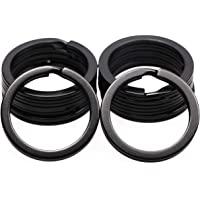 Shapenty 1 Inch/25mm Diameter Metal Flat Split Key Chains Rings for Home Car Keys Attachment (Black,10PCS/Box)