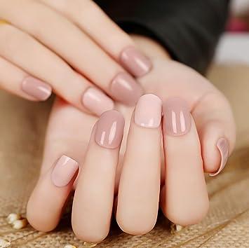 jovono corto para mujer postizas uñas postizas Francés Completo Warp (color desnudo): Amazon.es: Belleza
