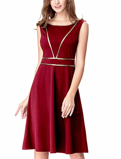 42cdbb69ca2b Noctflos Simple A Line Knee Length Holiday Party Dress for Women at Amazon Women's  Clothing store: