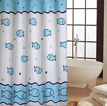 Duschvorhang überlänge duschvorhang fische 300x200 blau weiss weiß textil waschbar 100