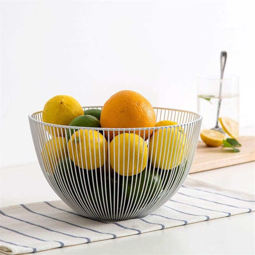 Fruit Basket, Fruit Vegetable, Egg, Bread Storage Bowl Holder Stand for Kitchen Counter, Cabinet and Pantry Stainless Steel Wire Design with Modern Styling - Decorative Countertop Centerpiece