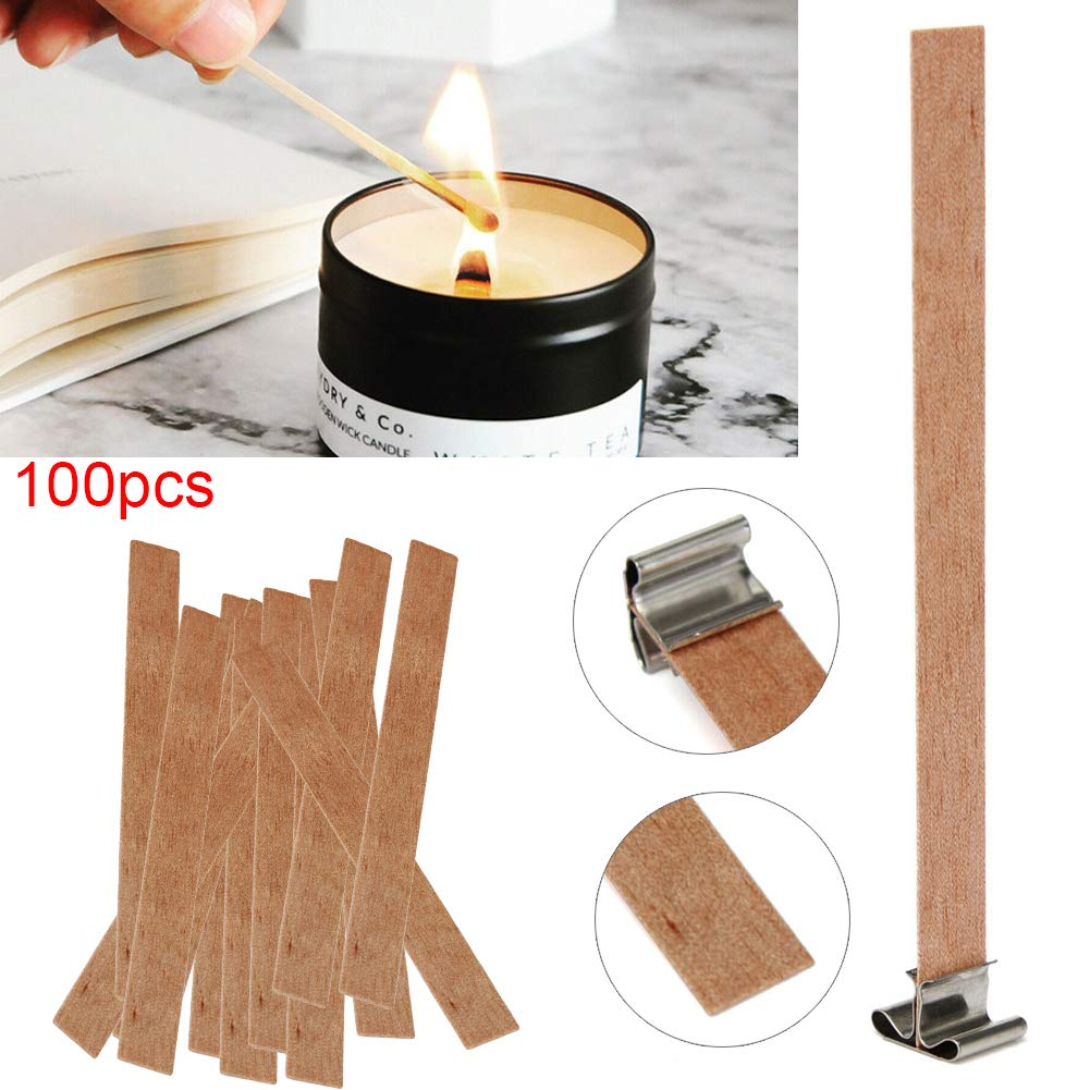 100pcs 10cm Brown Candle Wicks with 100pcs Stickers for DIY Candle Making
