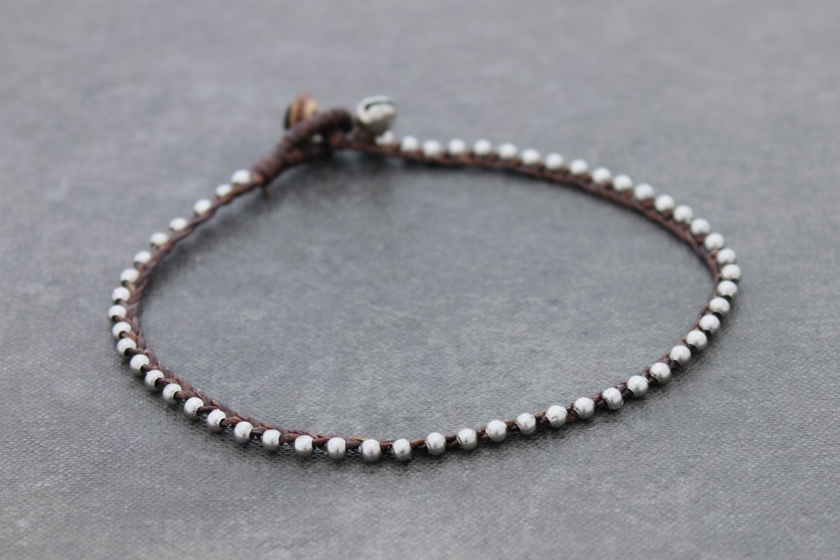 Simple Silver Anklets Brown Woven Waxed Cord Bell Tiny Small Skinny Dianty
