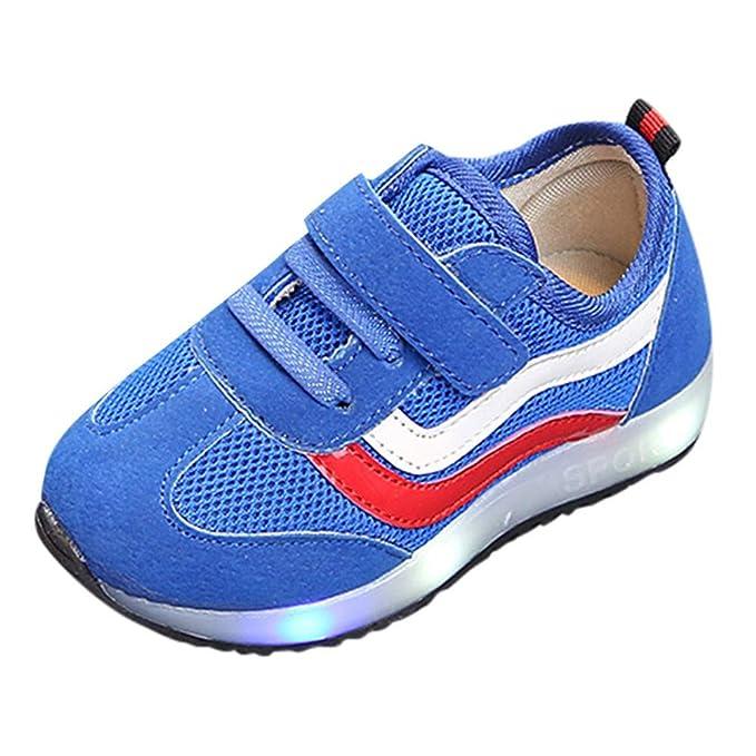 YanHoo Zapatos para niños Malla Rayada de los niños LED Que Destella los Zapatos Que encienden