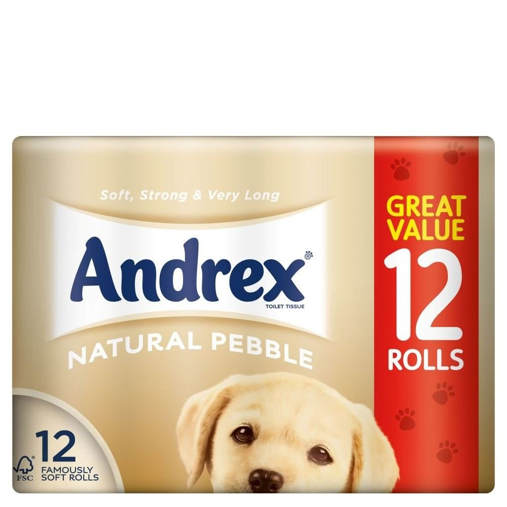 Andrex Natural Pebble Toilet Tissue Rolls (12) - Pack of 6