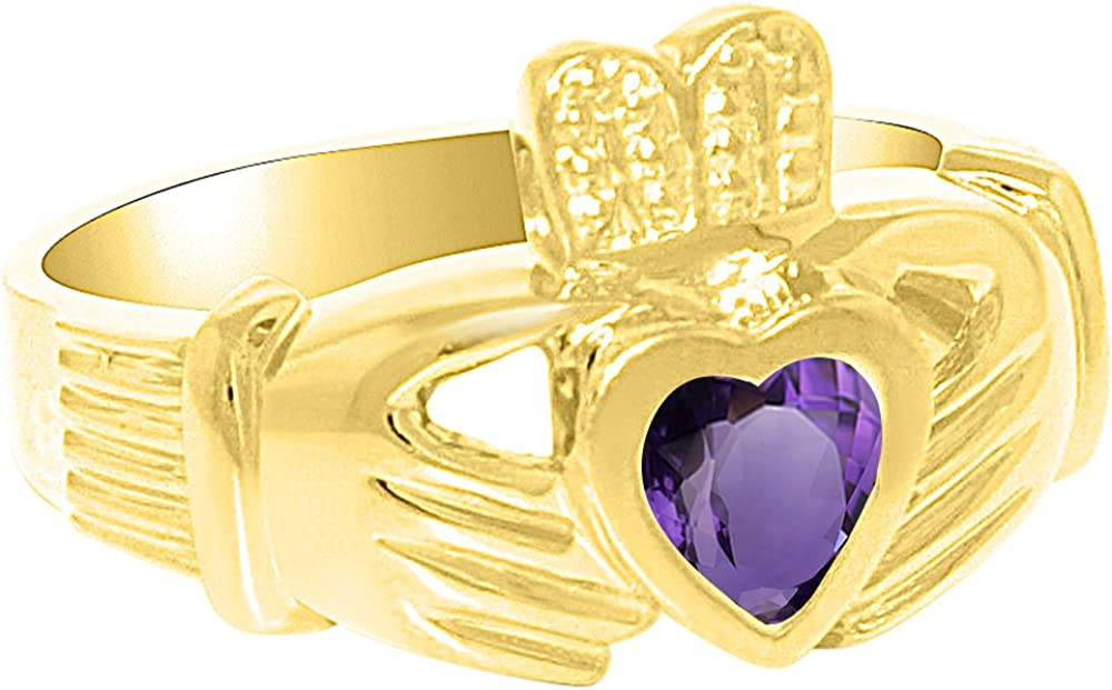Unisex masculino o femenino simulado Amatista Anillo Claddah amor, lealtad y amistad anillo plata de ley o chapado en oro amarillo