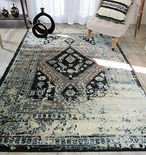 Premium Heavy-Duty Thick Traditional Rugs Oriental Rug Distressed Vintage Area Rug For Living Rooms Clearance (Large 8'x11', Brown) by AS Quality Rugs