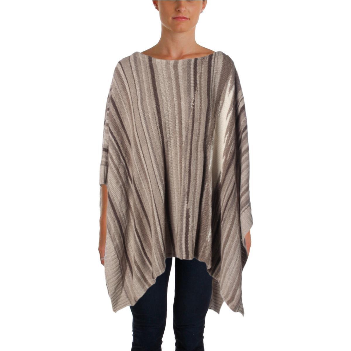 Lauren Ralph Lauren Womens Wool Blend Striped Poncho Sweater Taupe O/S