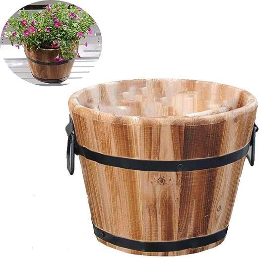 Jardineras de barril de cubo de madera clásicas para el hogar y el ...