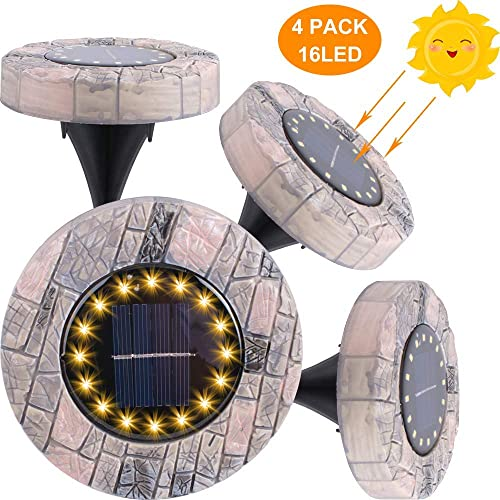 Solar Ground Light, Upgraded 16 LED Solar Garden Lights Waterproof Outdoor Lighting for Landscape, Lawn, Pathway, Yard, Driveway, Step and Walkway 4 Packs Warm White