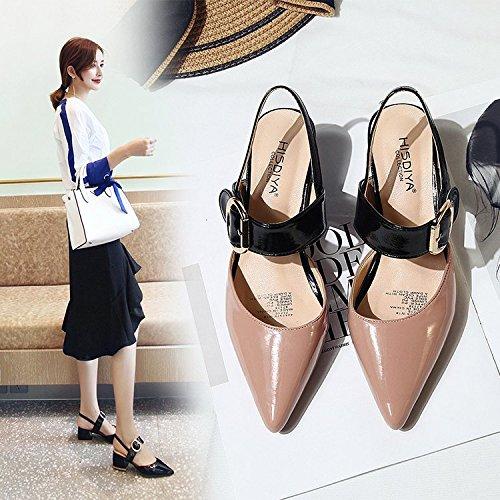 Sandalias Gruesas de Plana Qiqi Mujer Zapatos High Shoes Hembra Punta color de El Hollow la Xue con Hebilla Heel Baotou línea Sandalias de pFAaqwwP5
