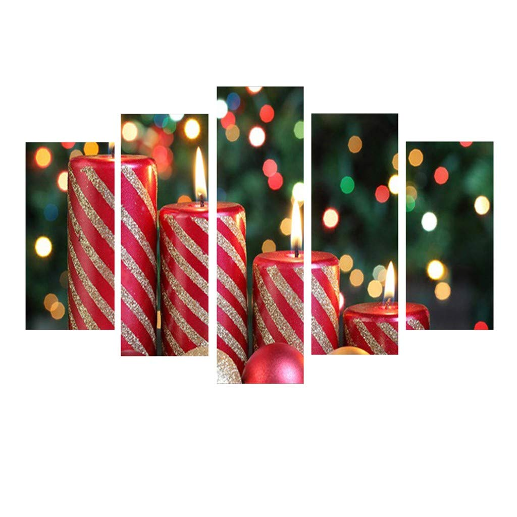 Meanit 5 Pieces Christmas Canvas Wall Art Christmas Wall Decor Christmas Pictures For Wall Modern Christmas Decor A Amazon In Home Kitchen