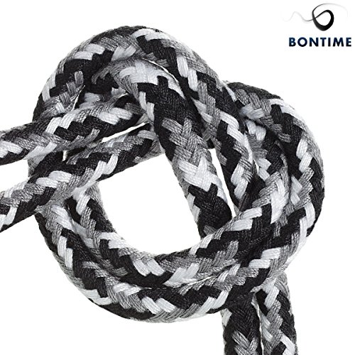 BONTIME All-Purpose Soft Cotton Rope - 32 Feet Length,1/3-Inch Diameter(Black & Grey & White,Pack of 3) by BONTIME (Image #2)