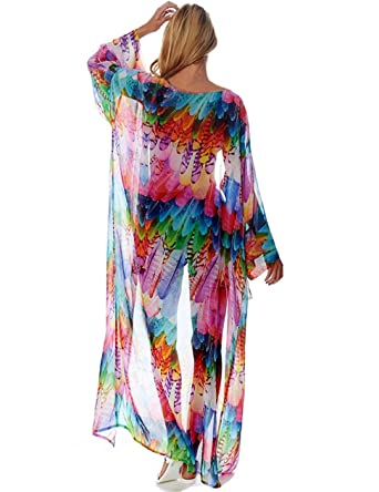 08aa9c4368 shermie Womens Chiffon Beach Blouses Kimono Cardigan Long Bikini Cover Up  (Feather Colorful,Print