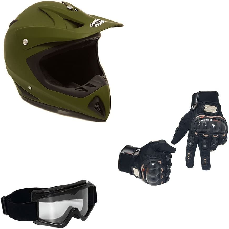 MX ATV Dirt Bike Motocross UTV XL Includes Riding Gloves and Goggles Military Green MMG 27 Combo Adult Motorcycle Off Road Helmet DOT