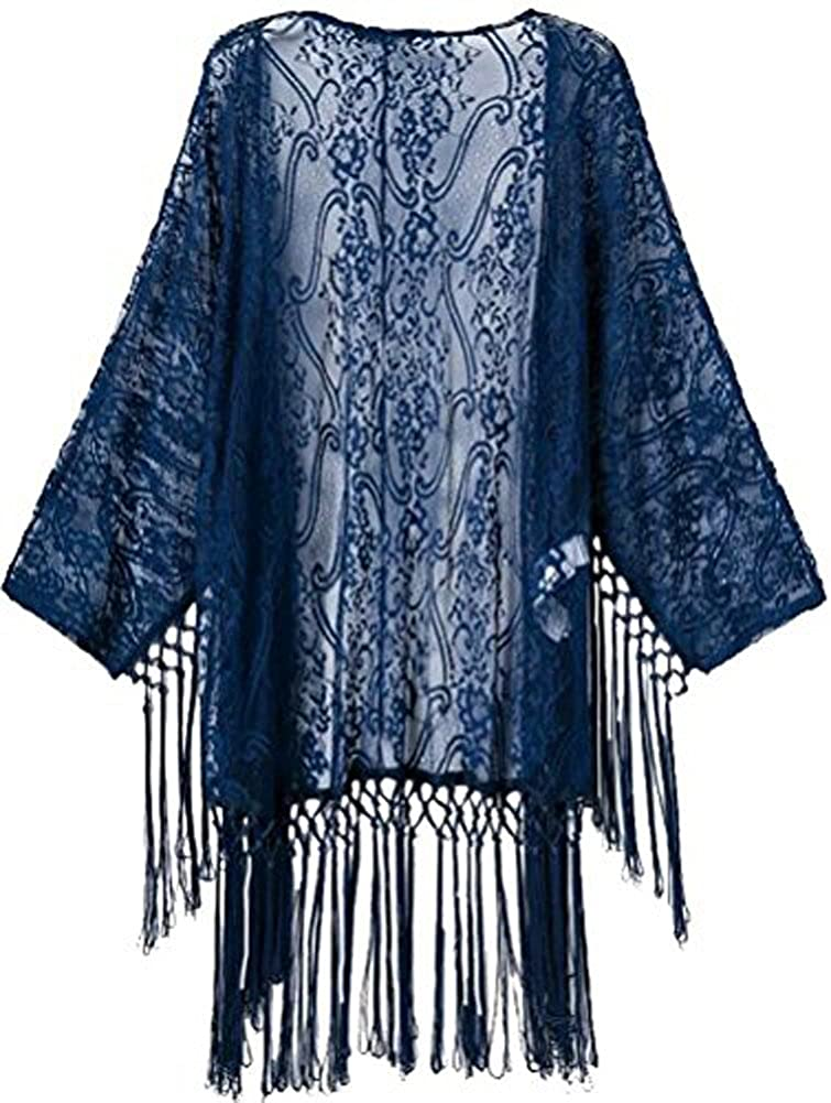1920s Style Wraps Crochet Lace Fringe Open Front Bating Sleeve Tassels Top Cover Up $18.99 AT vintagedancer.com