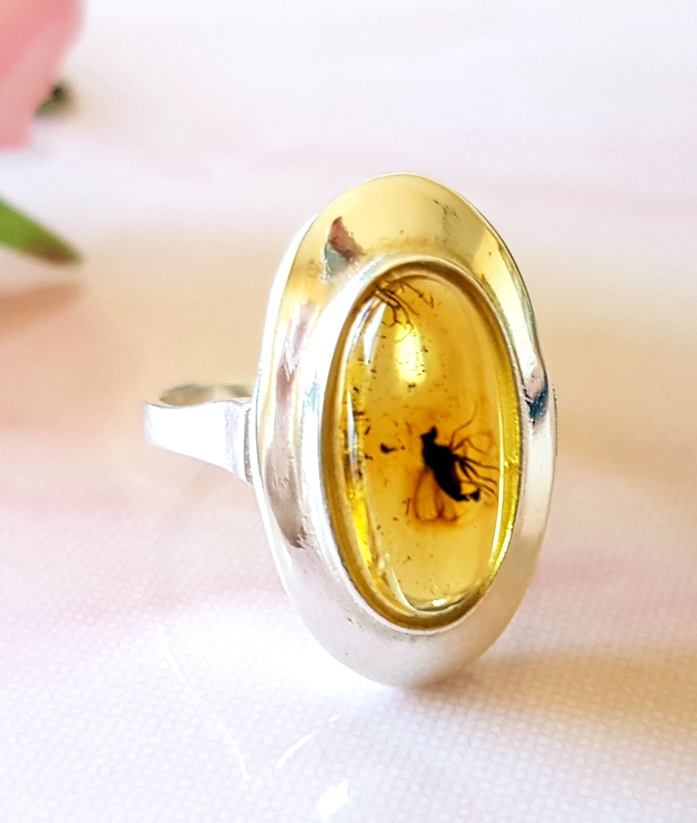 Exclusive BALTIC AMBER Ring with Fossil Insect 925 Sterling SILVER Natural Baltic Amber