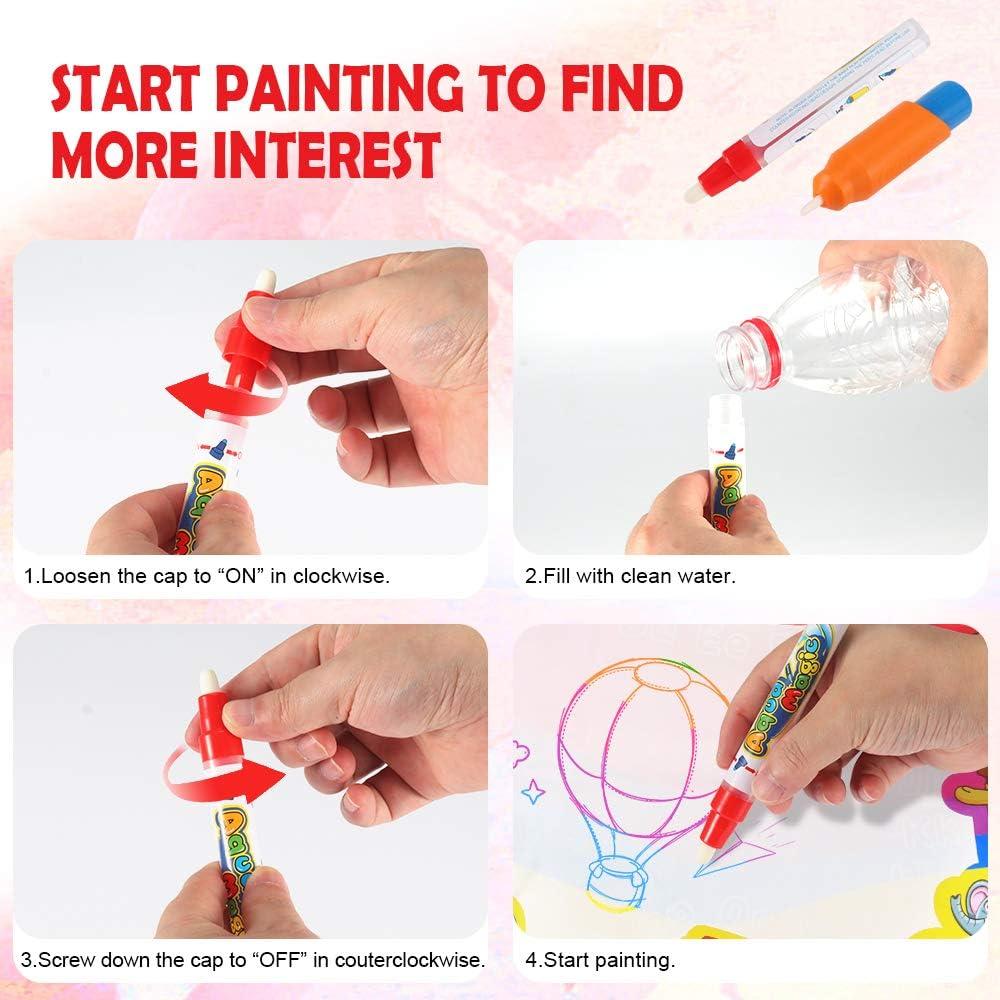 Keine Tinte u Magic Doodle Malmatte Zeichenmatte Spielzeug mit magischen Stift und 8 Formen Verwirrung frei 72*52cm FORNORM Wasser Doodle Matte f/ür Kinder