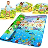 Waterproof Baby Play Mat Ocean Pattern Crawling Pad for Infants [US Stock] (Ocean)