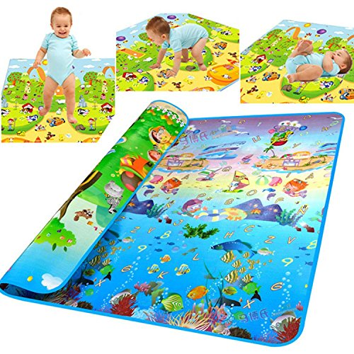 Pesters Extra Large Baby Kid Toddler Care Play Crawl Mat Foam Floor Gym, Non-Toxic Non-Slip Reversible Waterproof Playing Carpet Playmat Foam Picnic Blanket Rug for In/Out Doors (US STOCK) (Type_2)