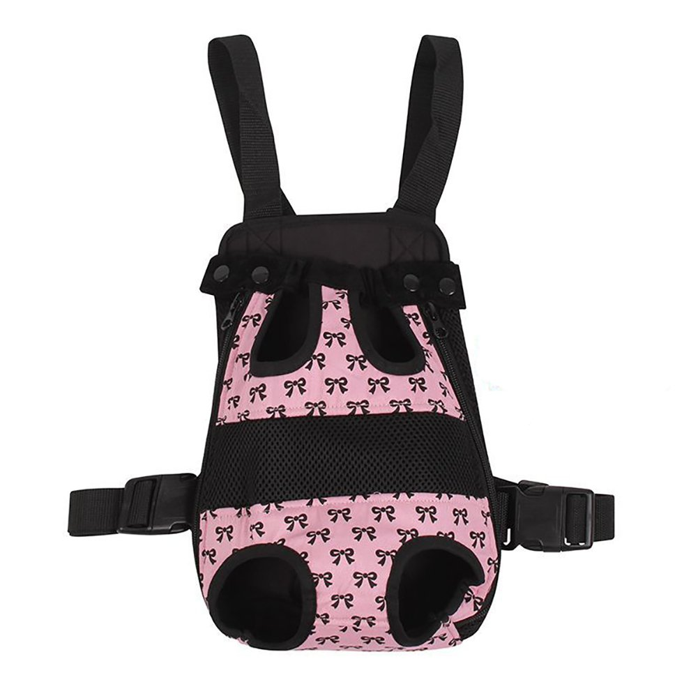 Pet Backpack,Pet Bowknot Chest Bag Out of Carrying Cat Dog Pet Four Holes Bag Outpack Carrying Case Pet Supplies 4Size