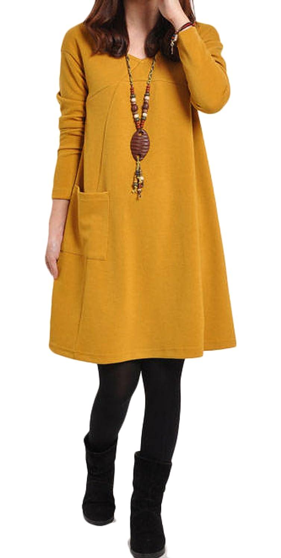 Damen Herbst Winter Reizvolle Langarm Loose Minikleid Lässig V-Ausschnitt  Blusenkleider Einfarbig: Amazon.de: Bekleidung