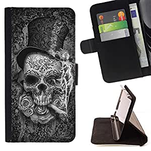 Momo Phone Case / Flip Funda de Cuero Case Cover - Sombrero de copa del Death Metal cigarro Rosa Roca - HTC DESIRE 816