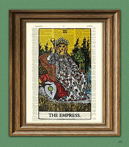 The Empress Major Arcana Tarot Card deck print over an upcycled vintage dictionary page book art