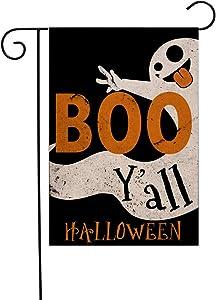 LEVOSHUA Halloween Garden Flag Double Sided Boo Ghost Flag for Farm Pickup House Yard and Outdoor Decor 12.5 x 18 Inch