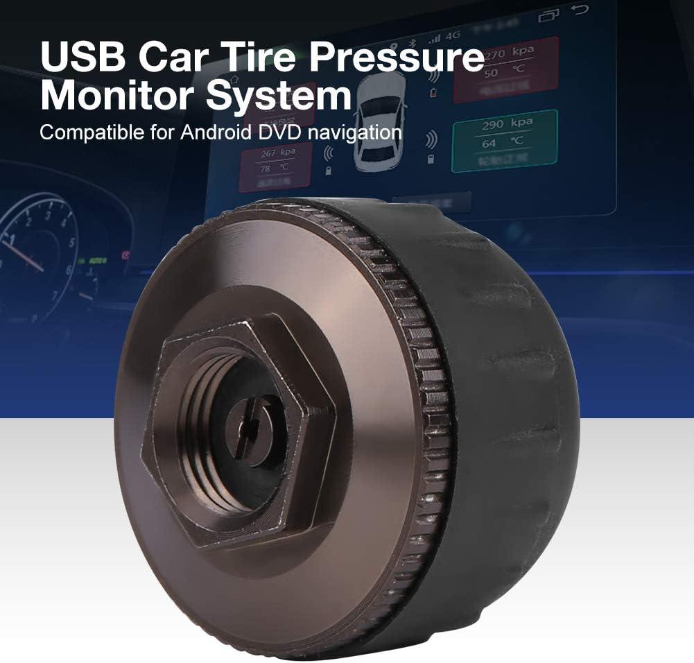 ROSEBEAR Syst/ème de Surveillance de La Pression des Pneus de Secours USB Tpms 5 Capteurs Externes Affichage en Temps R/éel pour La Navigation