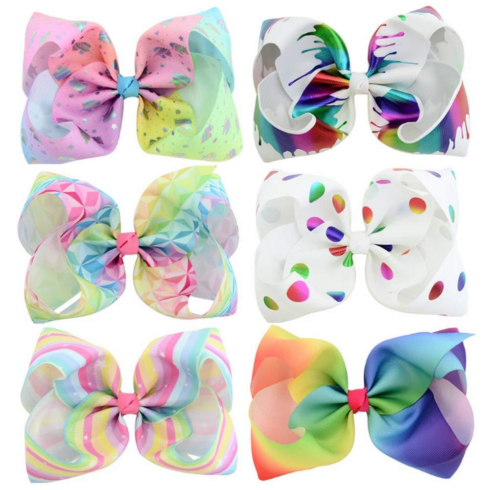 NiceButy 6 da 8 pollici per capelli carino grande fiocco di colore per bambini papillon vari sei stile clip arco copricapo per bambini Abbigliamento Accessori