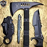 4PC Set Axe Pen Tactical Survival G'Store Hunting Combat Camping Pocket Knife
